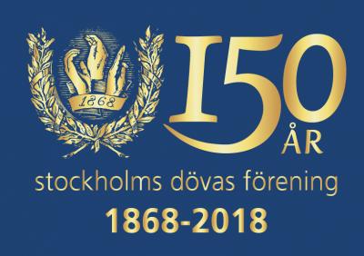 Stockholms Dövas Förening – 150 år Logotyp